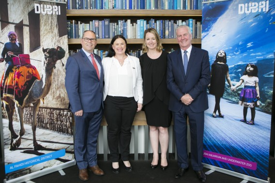 Dean Cleaver, Julie King, Jodie Collins and Paul Jury at Level 28, Corwn Metropole for the Dubai Tourism Trade Lunch
